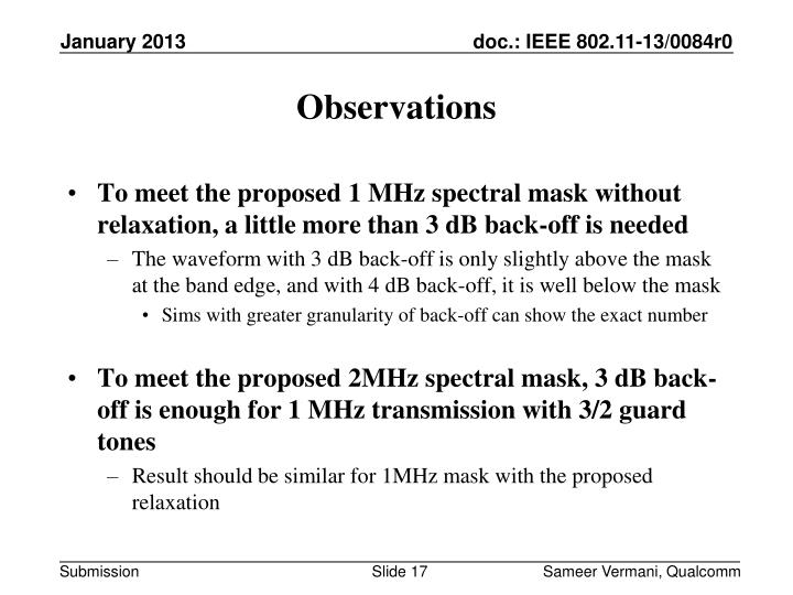 To meet the proposed 1 MHz spectral mask without relaxation, a little more than 3 dB back-off is needed