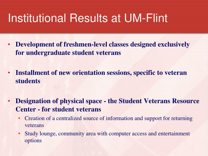Institutional Results at UM-Flint