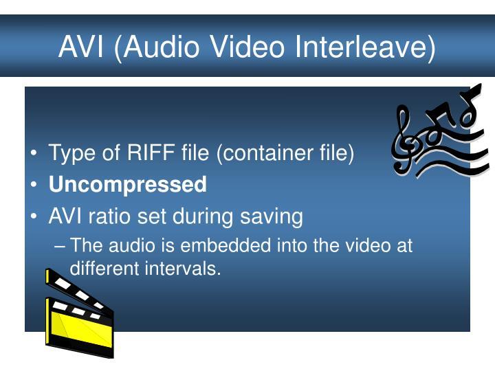 AVI (Audio Video Interleave)