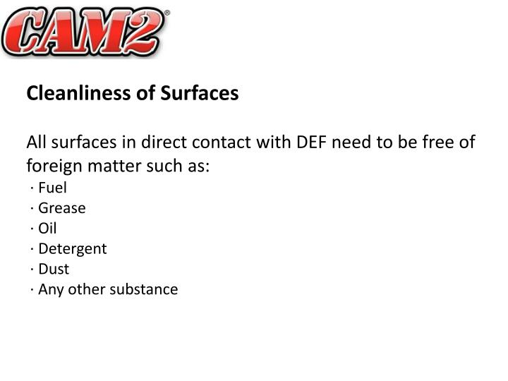 Cleanliness of Surfaces