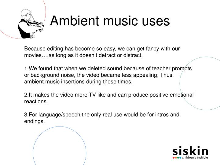 Ambient music uses