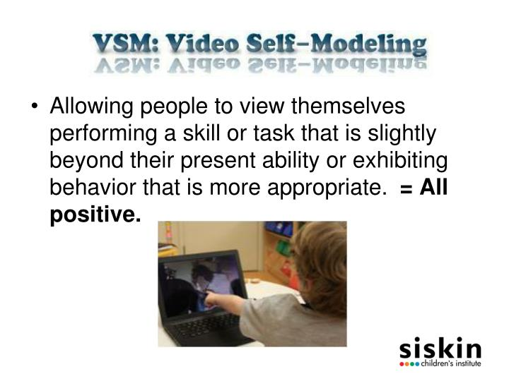 Allowing people to view themselves performing a skill or task that is slightly beyond their present ability or exhibiting behavior that is more appropriate.