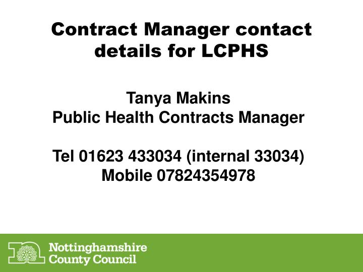 Contract Manager contact details for LCPHS