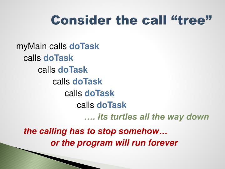 "Consider the call ""tree"""