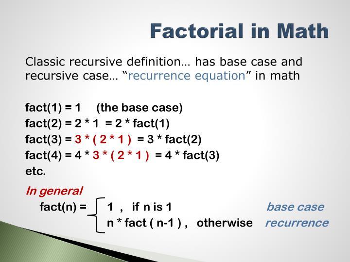 Factorial in Math