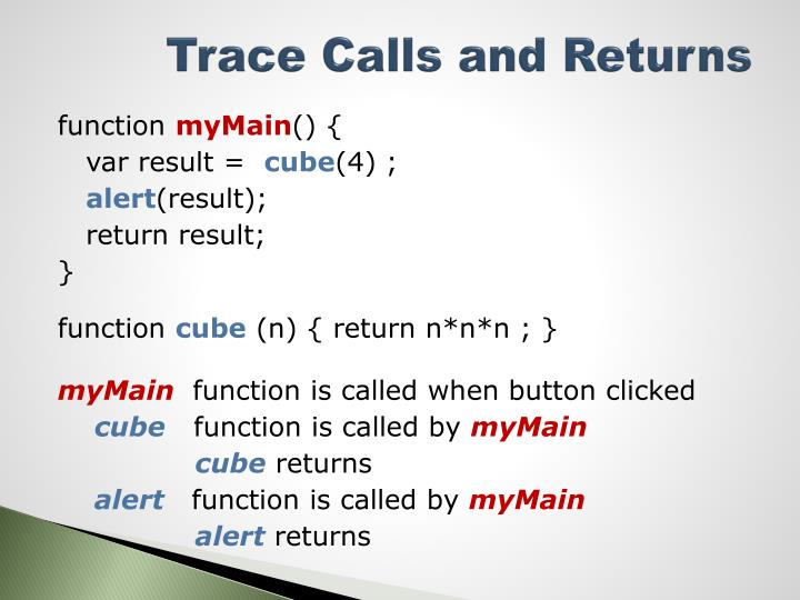 Trace Calls and Returns