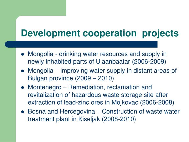 Development cooperation  projects