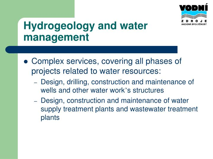 Hydrogeology and water management