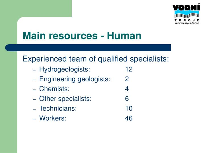 Main resources - Human