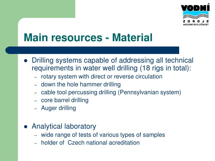 Main resources - Material