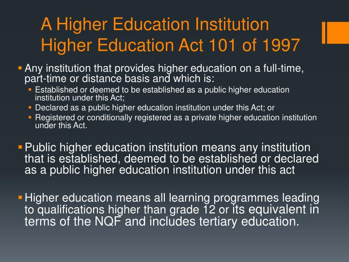 A higher education institution higher education act 101 of 1997