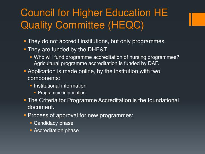 Council for Higher Education HE Quality Committee (HEQC)
