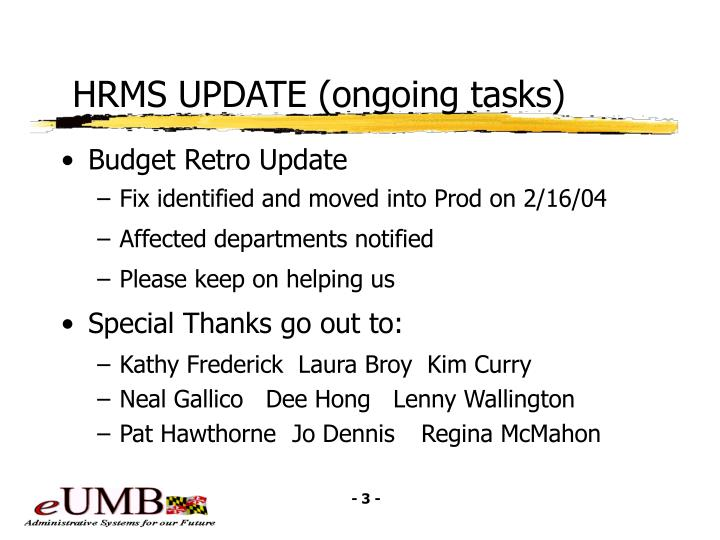 Hrms update ongoing tasks