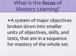 what is the focus of mastery learning1