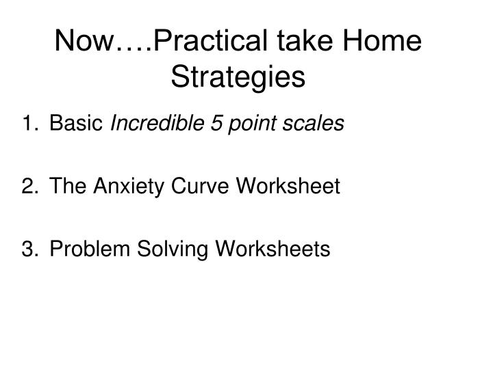 Now….Practical take Home Strategies