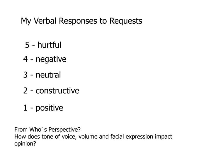 My Verbal Responses to Requests