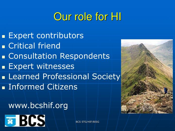Our role for HI