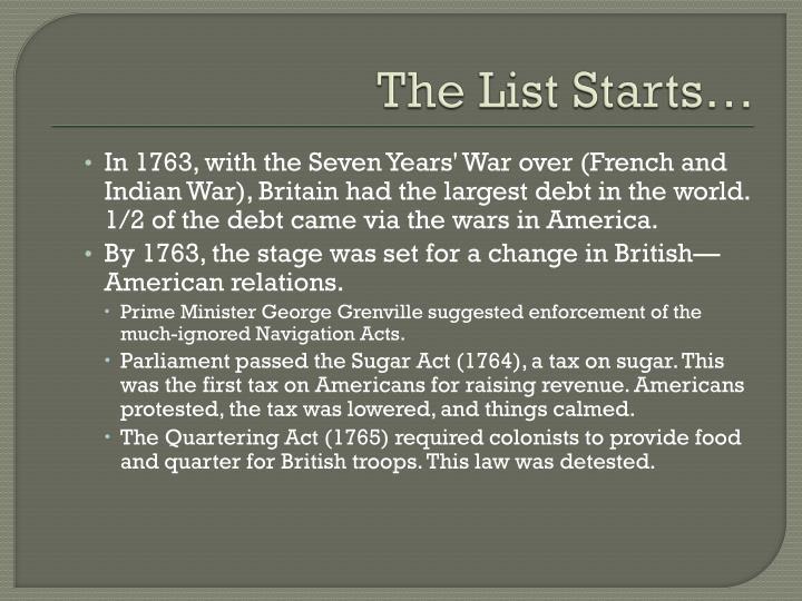 The List Starts…