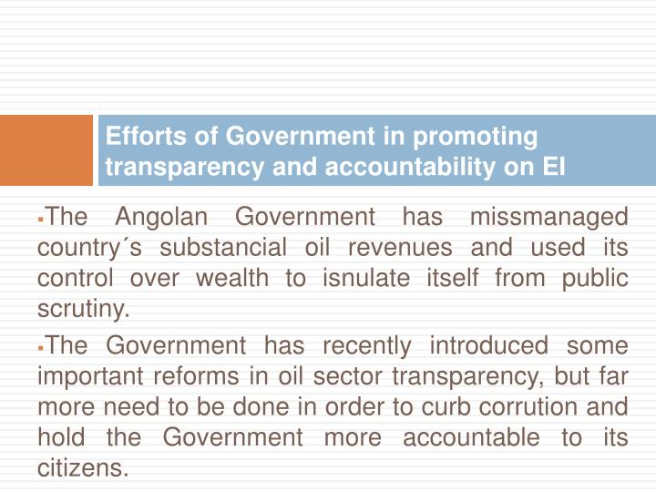 Efforts of Government in promoting transparency and accountability on EI