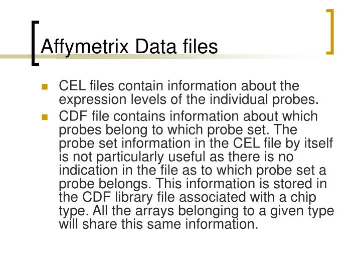 Affymetrix Data files