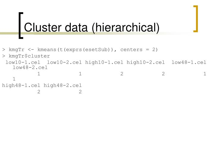 Cluster data (hierarchical)