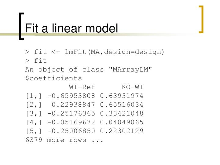 Fit a linear model
