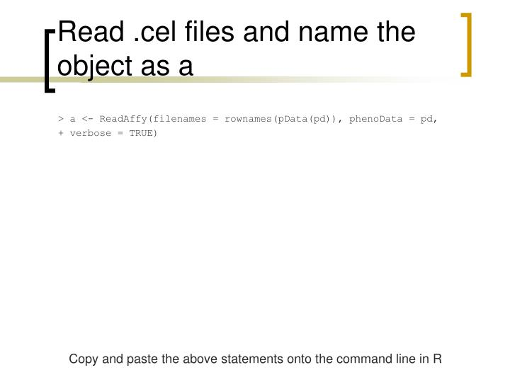 Read .cel files and name the object as a
