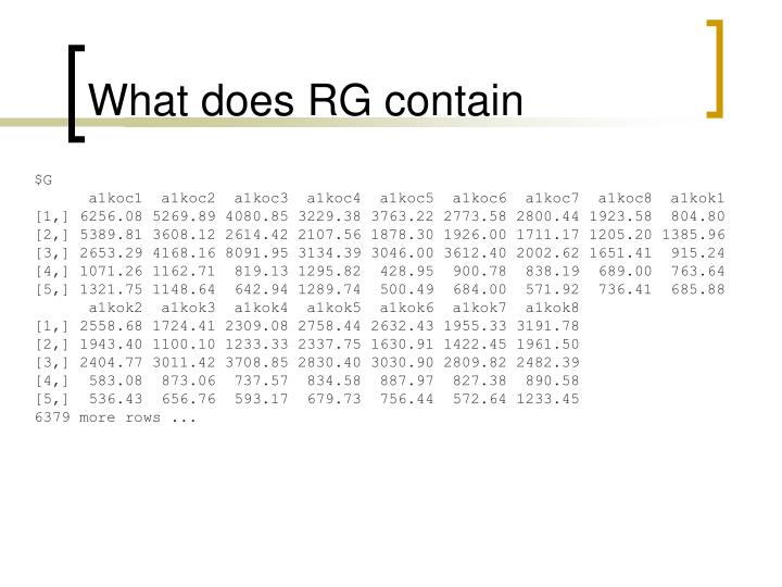 What does RG contain