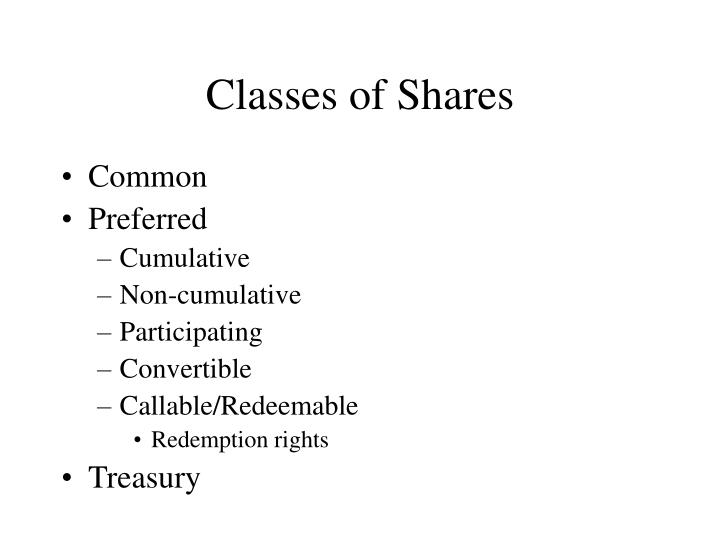 Classes of Shares