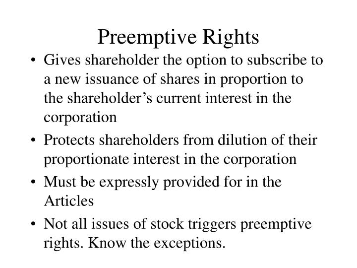Preemptive Rights