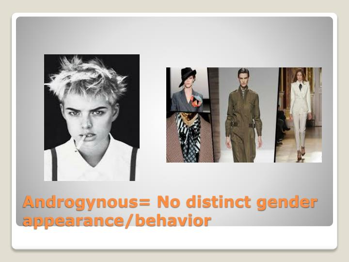 Androgynous= No distinct gender appearance/behavior