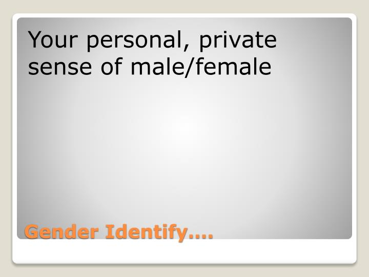 Your personal, private sense of male/female