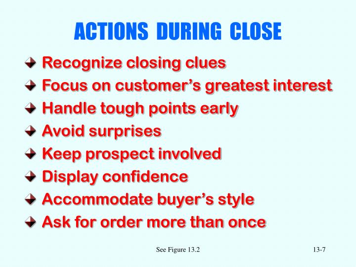 ACTIONS  DURING  CLOSE