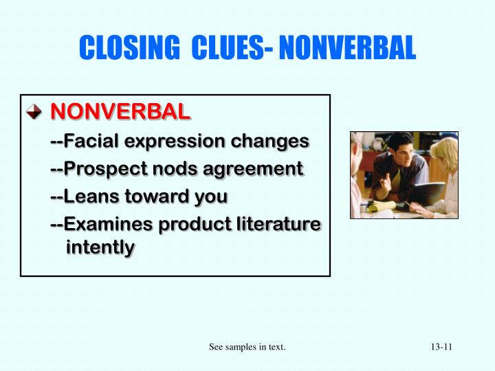 CLOSING  CLUES- NONVERBAL
