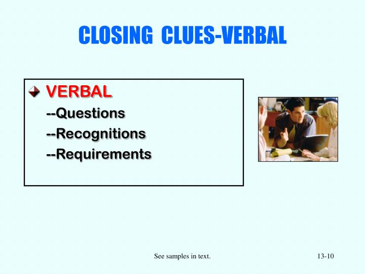 CLOSING  CLUES-VERBAL