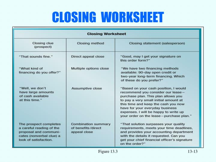 CLOSING  WORKSHEET