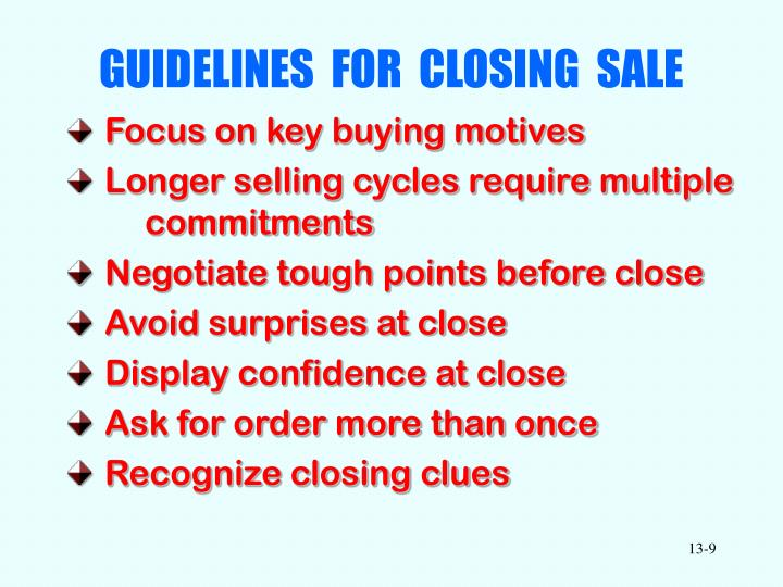 GUIDELINES  FOR  CLOSING  SALE