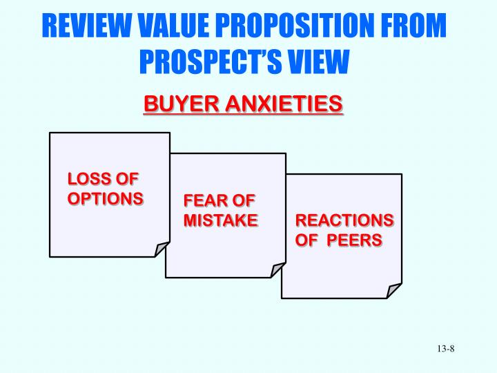 REVIEW VALUE PROPOSITION FROM  PROSPECT'S VIEW