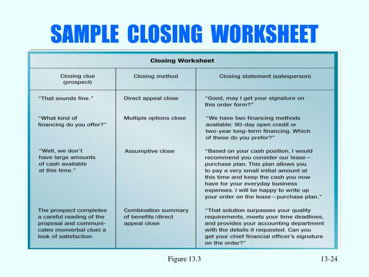 SAMPLE  CLOSING  WORKSHEET