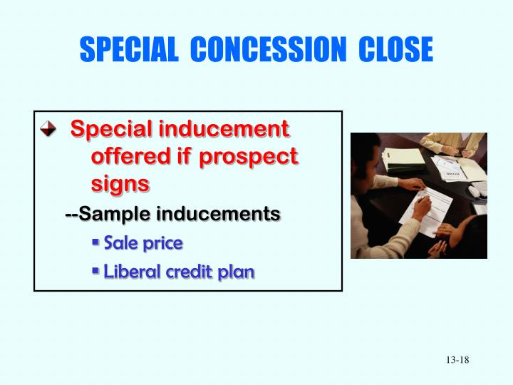 SPECIAL  CONCESSION  CLOSE