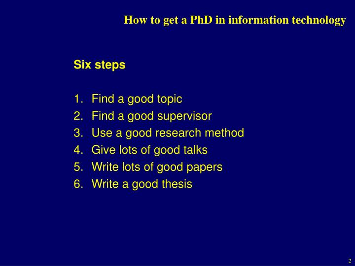 How to get a phd in information technology1