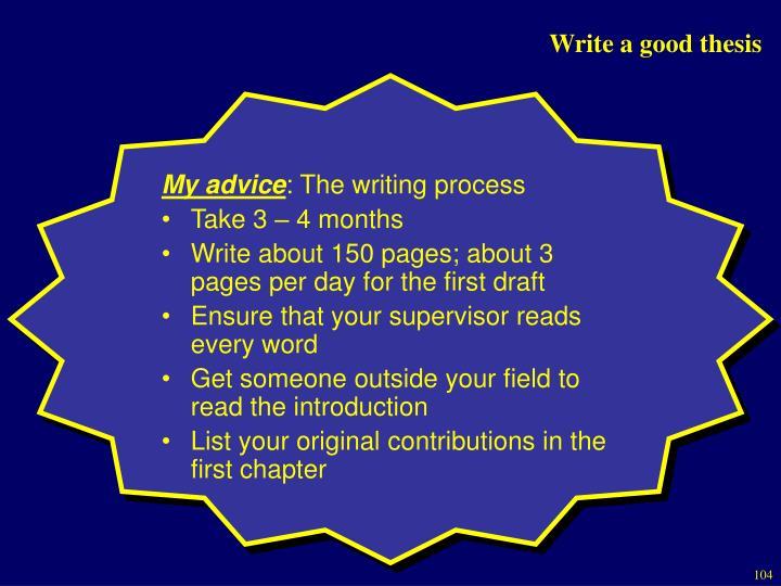Write a good thesis