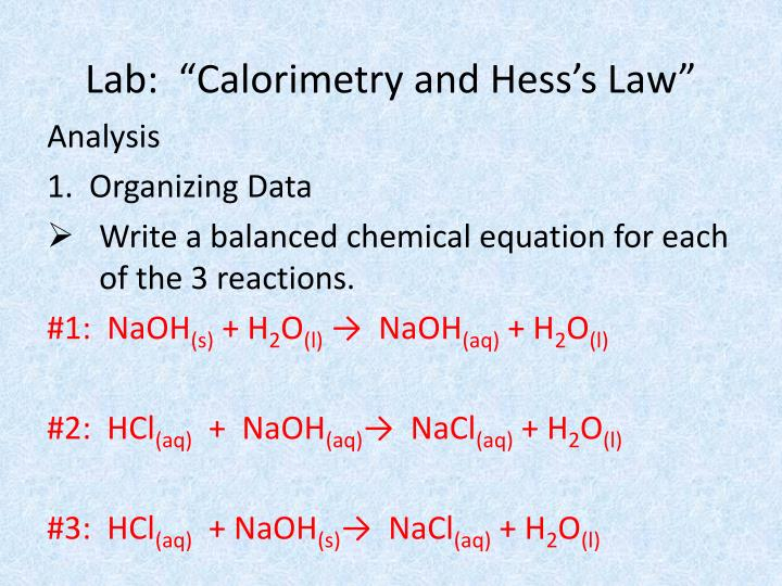 "Lab:  ""Calorimetry and Hess's Law"""