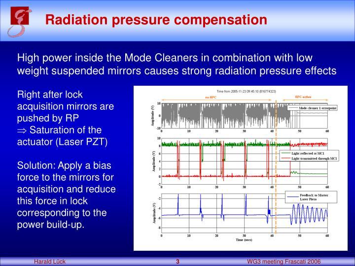 Radiation pressure compensation