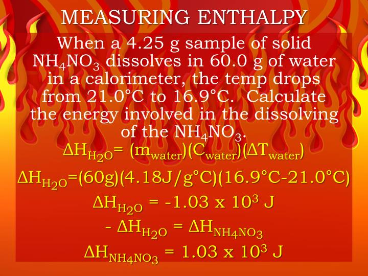 MEASURING ENTHALPY