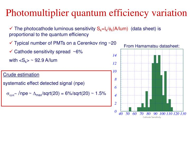 Photomultiplier quantum efficiency variation