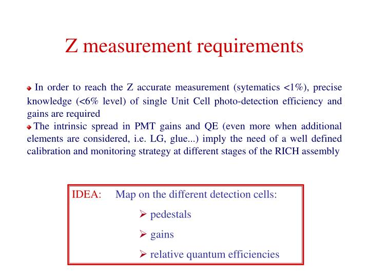 In order to reach the Z accurate measurement (sytematics <1%), precise knowledge (<6% level) of single Unit Cell photo-detection efficiency and gains are required