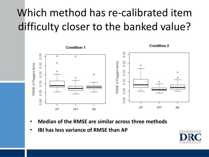 Which method has re-calibrated item difficulty closer to the banked value?