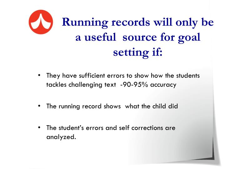 Running records will only be a useful  source for goal setting if: