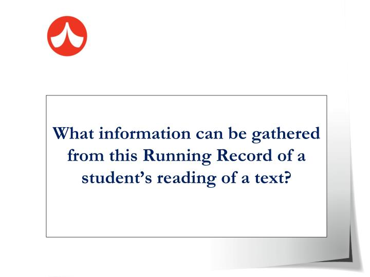 What information can be gathered from this Running Record of a student's reading of a text?